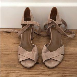 Aquazurra Suede Ankle Tie Block Sandals
